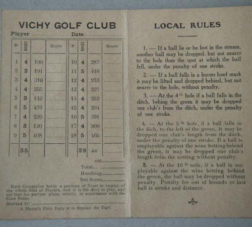 Vichy carte de score