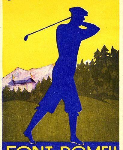 carte postale ancienne pour la promotion du golf