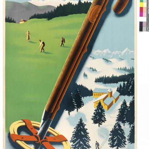 version affiche ancienne pour la promotion du golf et de la station de ski