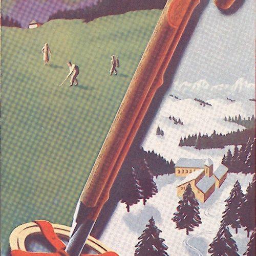 version carte postale ancienne pour la promotion du golf et de la station de ski