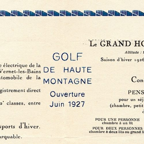 détail plaquette 2 volets de 1926 du Grand Hotel de Font Romeu
