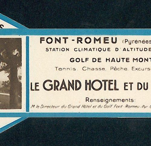 "marque page ""le grand hotel et du golf"" circa 1935"