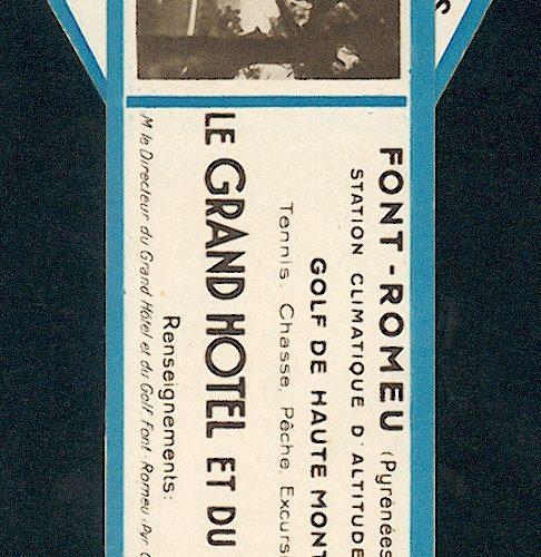 marque page promotionnel du Grand Hotel et du Golf de Font Romeu