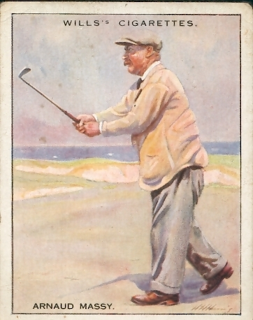 "Arnaud MASSY, carte n°14 de la série Wills ""famous golfers"" issued by the imperial tobacco company, circa 1930"