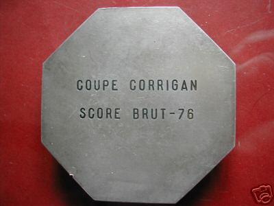 Dos de la médaille Coupe CORRIGAN SCORE BRUT 76