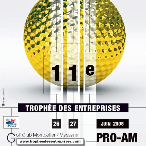 Affiche du 11° trophée des Entreprises - Golf de Montpellier Massane (Hérault) les 26 et 27 juin 2008