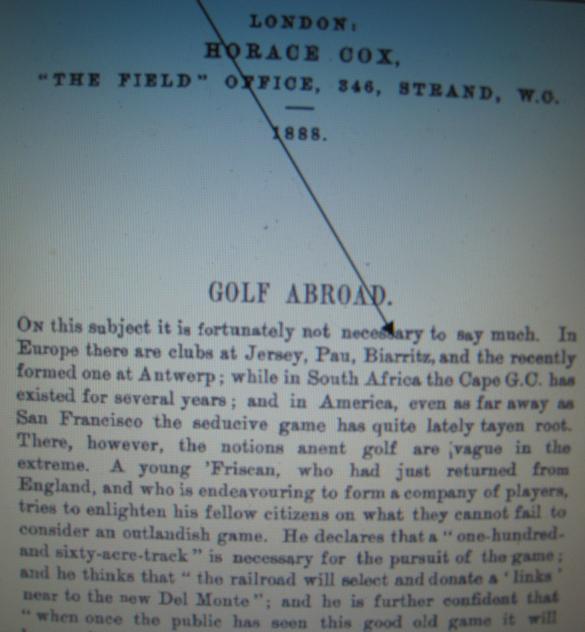 Extrait Golfing Annual 1887/ 1888 certifiant l'existance du golf de Biarritz mais pas celle de Dinard.