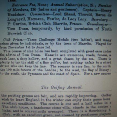 """The Golfing Annual 1887-1888 / Descriptif Golf de Biarritz"