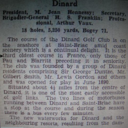 "1932/ Supplément du Continental Daily Mail - Golfing Section"" Dinard 3ème Golf-Club de France"