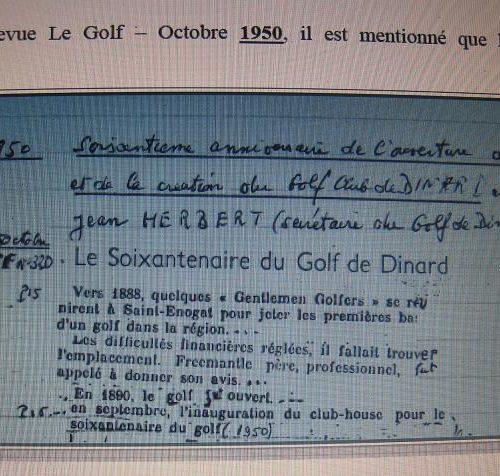 Annonce du Soixantième anniversaire du golf de Dinard 1950