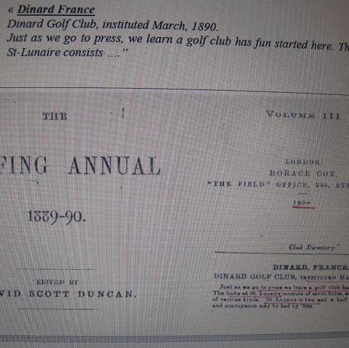 Golfing Annual 1889/1890. Golf de Dinard.