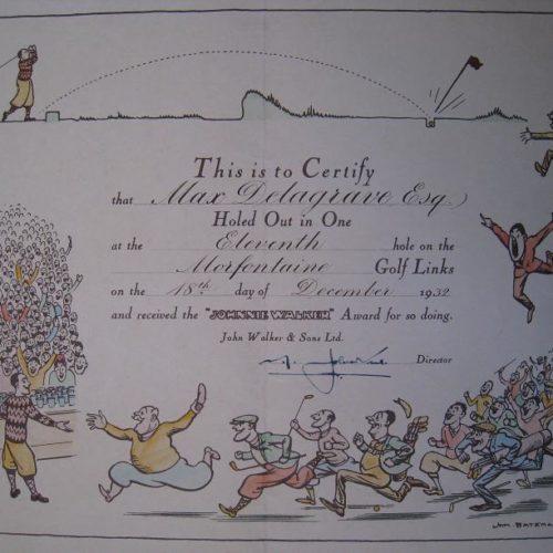 Diplôme trou en 1 / Max Delegrave / Trou n°11 le 18 décembre 1932