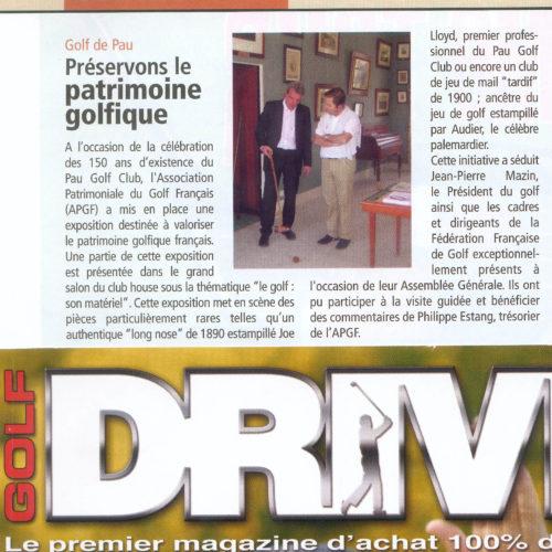 Article de presse Exposition APGF au Pau Golf Club