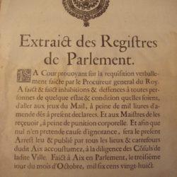 Registre du parlement interdisant le jeu de mail à Aix en 1628