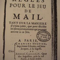 Photocopies du premier livre du jeu de Mail en 1717