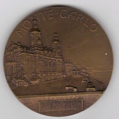 Médaille en bronze du golf de Monte-Carlo saison 1921-22 auteur SZIRMAÏ
